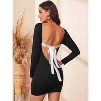 Backless Tie Back Ribbed Bodycon Dress