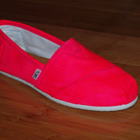 Bright Pink Hand Painted TOMS Shoes Neon Fluorescent