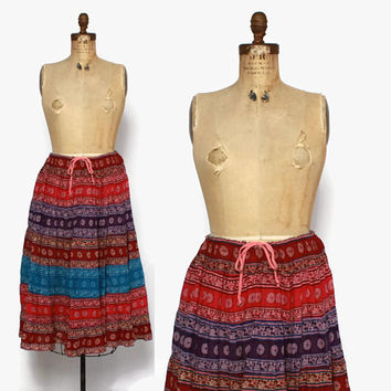 Vintage 80s Gauze Skirt / 1980s Tiered Patchwork Indian Cotton Midi Skirt