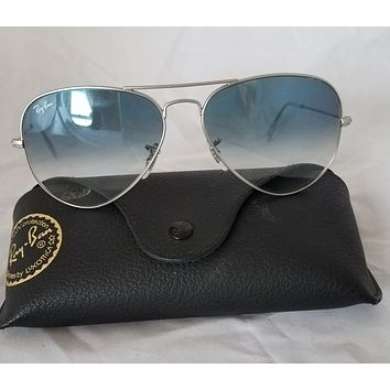 Cheap RAY BAN SILVER RB3025 AVIATOR LARGE METAL LIGHT BLUE MIRROR SUNGLASES outlet