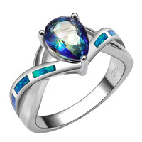 Hot Sale Blue Rainbow Topaz With Blue Fire Opal 925 Sterling Silver High Quantity Ring For Woman Size 6 7 8 9 10 R1438