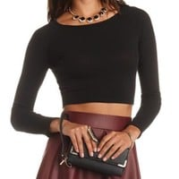 Ribbed Sweater Knit Long Sleeve Crop Top