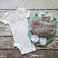 Baby Girl Take Home Outfit Newborn Baby Girl Custom Onesuit Bloomers Headband Sandals Set White Grey Silver Customized Onesuit