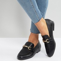 New Look Leather Look Buckle Detail Loafer at asos.com