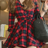 Long Sleeve Plaid Dress