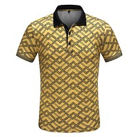 VERSACE Summer Men Casual T-Shirt Top Tee Yellow
