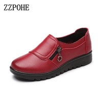 ZZPOHE New Autumn Women's Shoes Fashion Casual Women Leather Shoes Ladies Slip On Comfortable Plus Size Work shoes free shipping