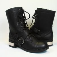 Women's Stylish Zipper Lace Up Buckle Military Combat Boot Shoes Size 5.5-11 New