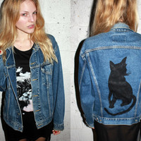 Black Cat Vintage Levi's Denim Jacket / Hipster Kitty Long Sleeve / Love of Cats / Hand Painted Jean / One of a Kind Reconstructed Vintage