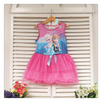 Frozen Children Girls Tulle Dresses Kids Clothing 2014 Summer Sleeveless Butterfly Gauze Dress Childs Elsa Anna Lace Dressy.