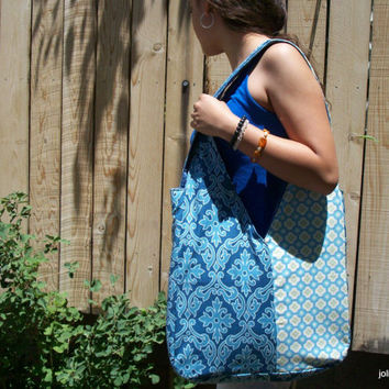 Summer Sky Blue Two Sided Shoulder Bag Diaper Bag Tote with Large Pockets