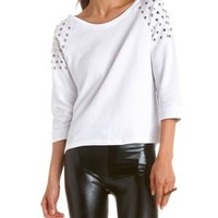 Studded French Terry Sweatshirt: Charlotte Russe