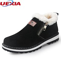 UEXIA Winter Men Boots Plush Warm Winter Shoes Men Fashion Fur Boots Loafers Designer Casual Shoes Men Zip Zapatillas Deportivas