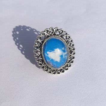 Heart shaped cloud, antique silver statement ring, handmade photo ring