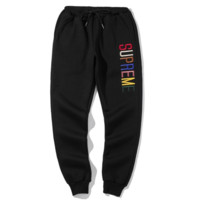 Supreme New fashion embroidery letter sports leisure couple keep warm thick pants Black