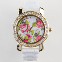 Rhinestone Floral Watch White One Size For Women 23914915001