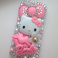Hello Kitty & Barbie Baby Pink Daisy Crystallised  Sparkly Bling iPhone 5 Cell Phone Case