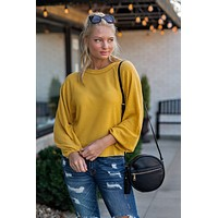 My Sweet Obsession Waffle Knit Top : Mustard
