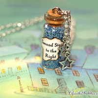 Second Star to the Right Magical Necklace with 2 Star Charms, Neverland, Peter Pan, Disney Inspired, by Life is the Bubbles