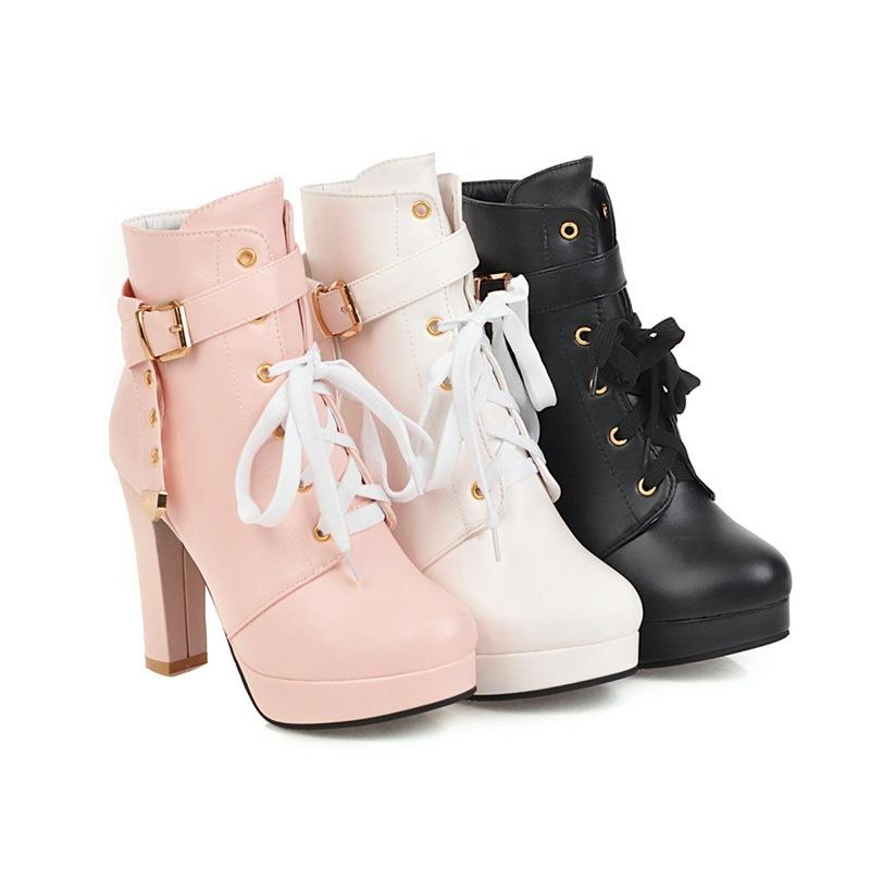 Image of Ankle Boots for Women Platform High Heels Rhinestone Pu Leather Autumn Winter Shoes Woman 6809