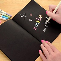 1 Notebook Diary Black Paper Notepad 16K 32K 56K Sketch Graffiti Notebook for Drawing Painting Office School Stationery Gifts (Random Pattern)
