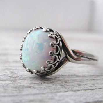 Opal Ring, Sterling Silver Opal Ring, Adjustable Rings, Opal Rings, White Opal, Opal Jewelry