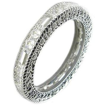 Zirconite Cubic Zirconia Sterling Silver all around Filigree Eternity band Ring 501R23516