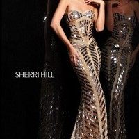 Long Beaded Evening Gown by Sherri Hill