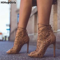 HiHopGirls 2018 Summer Gladiator Sexy Women Peep toe pumps Hole hollow Cross Strap stiletto sandals Thin high heels shoes woman