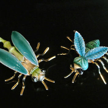 1960s Jonette JJ Brooch Enamel Scorpion or Dragonfly and Bumble Bee Pair Mid Century Designer Pins Bug Jewelry Animal Critter Kitschy Kitsch