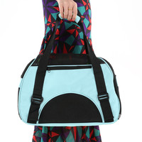 Blue Portable Pet Travelling Bag with 2 Openings + Shoulder Strap