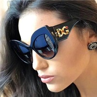 Fashion Cat Eye Sunglasses Diamond Frame Gradient  Oversized