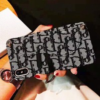 DIOR New fashion embroidery more letter shoulder hang protective cover phone case Black