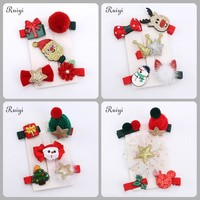 5pcs/set 2017 Christmas Hair Clips Xmas Style Hairpins Fashion Hair Clip Gifts for Lovely Girls Kids Children Hair Accessories