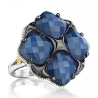 Tacori 18K925 City Lights Oversized Four Stone Blue Crystal Ring
