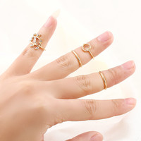 Size Less than 4  Romantic Leaf Heart Finger Knuckle Ring Set jewelry  Plated Punk Hip-Hop Metal Ring jewelry for women  M12