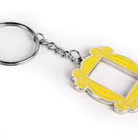 Polished Nickel Yellow Peephole Frame Keychain, inspired by the one on Monicass door on Friends