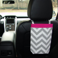 Car Trash Bag CHEVRON GRAY with PINK Trim, Women, Car Litter Bag, Auto Accessories, Auto Bag, Car Organizer