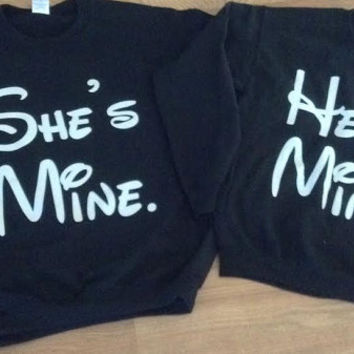 Free Shipping for US  He's Mine/She's Mine Crew Neck Couples Sweat Shirts