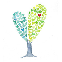 Heart Tree  art Print of an original watercolor painting , Love , anniversary, girly,  aqua green, whimsy fun,Valentine, mothers day