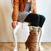 The Lacey Lou Gold  Open-work Leg Warmers w/ ivory knit lace trim & buttons - Legwarmers (item no. 3-11)
