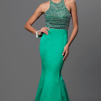 Trumpet Floor Length High Neck Dress