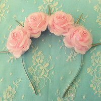 Pastel Goth Pink Flower crown with silver spikes