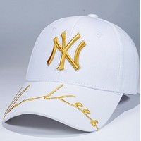 NY Fashion New Embroidery Letter Women Men Sunscreen Solid Color Cap Hat White