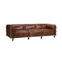 Elite Industrial Leather Couch