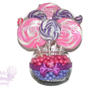 Small Pink and Purple Lollipop Centerpiece, Baby Shower Centerpiece, Baby Girl Centerpiece, sweet sixteen, candy buffet, centerpiece, candy
