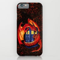 Red Dragon Wyvern Smaug with Blue Phone booth iPhone 4 4s 5 5c 6, pillow case, mugs and tshirt iPhone & iPod Case by Three Second