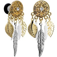 2 Gauge Clear Gem Ornate Gold Disc Leaf Feather Dangle Plug Set