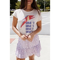 Bowie '73 Lightning Bolt Graphic Tee, Bare | Junk Food