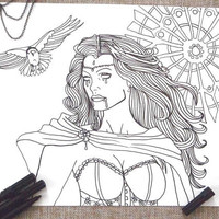 gothic coloring page sexy vampire frances adults horror goth download witch fantasy colouring printable digital halloween lasoffittadiste
